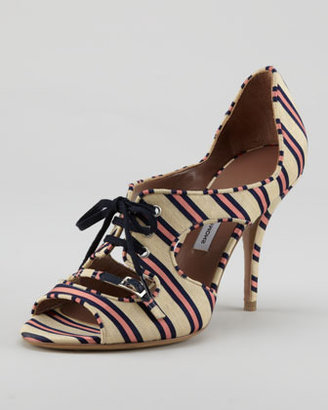 Tabitha Simmons Bertie Lace-Up Cutout Striped Pump