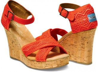 Toms Coral crochet women's strappy wedges