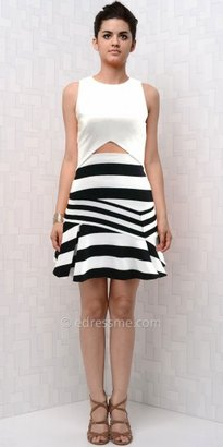 eDressMe Striped Cut-Out Day Dresses