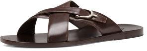 Gucci Karel Leather Crisscross Slide Sandal
