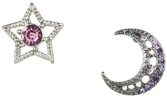 Betsey Johnson Celestial Star/Moon Non-matching Stud Earrings (Hematite) - Jewelry
