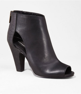 Express Open Toe Side Cut-Out Heeled Runway Bootie