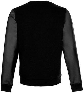Topman Black Leather Look Sleeve Sweatshirt