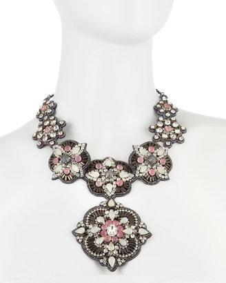 Deepa Gurnani Crystal and Resin Bib Necklace, Pink