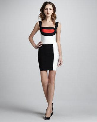 Herve Leger Mondrian Colorblock Bandage Dress