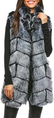 Fabulous Furs Chevron Faux-Fox Vest