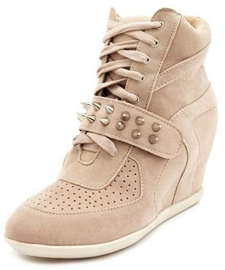 Charlotte Russe Spiked Strap Wedge Sneaker
