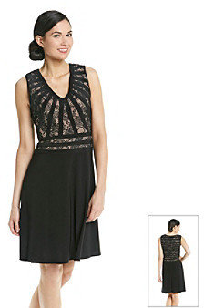 Adrianna Papell Short Sleeveless Lace Cocktail Dress