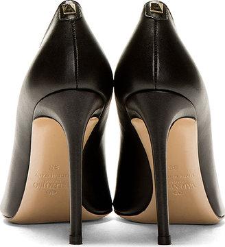 Valentino Black Leather Single Stud Pumps