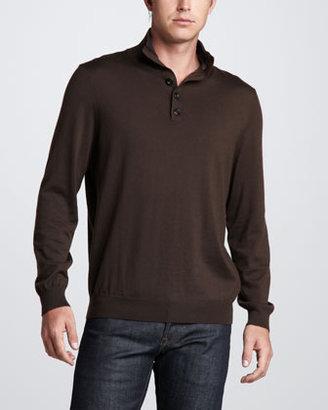 Neiman Marcus Cashmere Henley Sweater, Brown/Gray/Navy