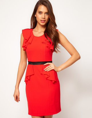 Lipsy Dress with Frill Sleeves