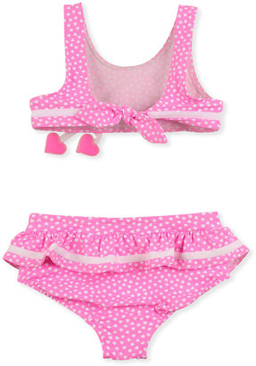Florence Eiseman Heart Two-Piece Swimsuit, Pink, Sizes 4-6X