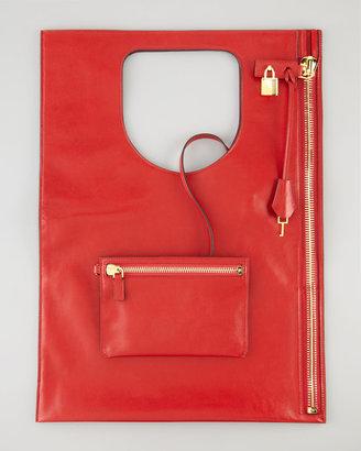 Tom Ford Alix Leather Padlock & Zip Shoulder Bag