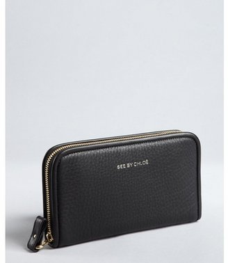 See by Chloe black textured leather zip continental wallet
