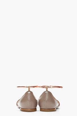 Maison Martin Margiela Taupe Leather Copper-Anklet Sandals