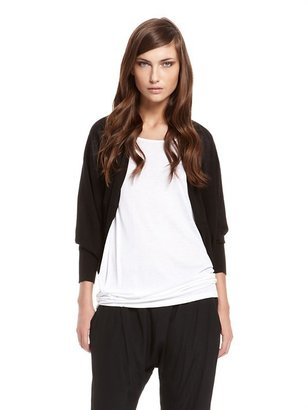 DKNY Cashmere Like Cotton Long Sleeve Shrug With Drawstring Detail