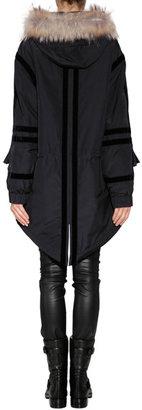 McQ by Alexander McQueen Fur Trimmed Parka in Black