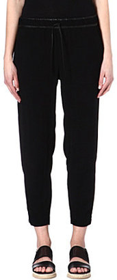 Helmut Lang Leather-trimmed cropped trousers
