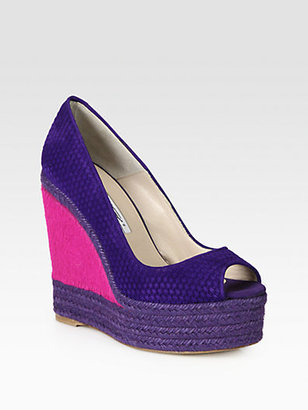 Brian Atwood Cailey Woven Suede & Pony Hair Espadrille Wedges
