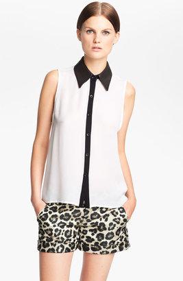 Alice + Olivia 'Loira' Leather Collar Silk Blouse