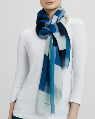 Burberry Multi-Stripe Print Scarf, Opal Blue
