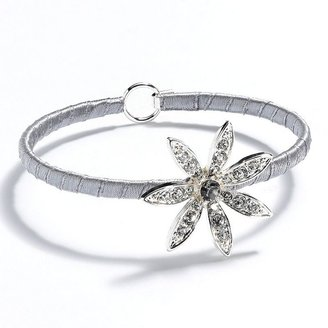 Lauren Conrad silver tone simulated crystal flower wrapped bangle bracelet