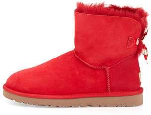 UGG Bailey Mini Striped-Bow Short Boot, Red