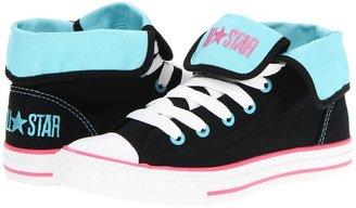 Converse Chuck Taylor All Star Super Hi (Little Kid/Big Kid) (Black/Blue Radiance) - Footwear