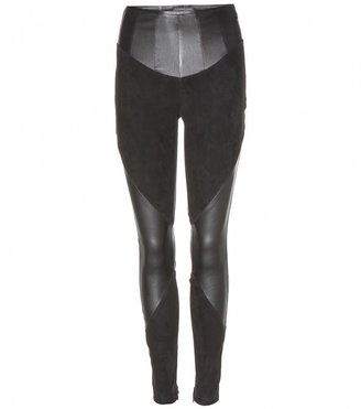 Alexander McQueen Stretch leather and suede-panelled leggings