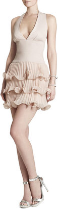 BCBGMAXAZRIA Priscilla V-Neck Three-Tiered Ruffle Dress