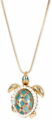 Betsey Johnson Gold-Tone Glass Pearl Crystal Turtle Pendant $65 thestylecure.com