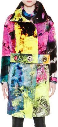 Just Cavalli Multicolor Coat With Grommet Belt
