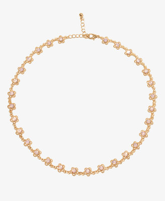 Forever 21 Rhinestoned Floral Necklace