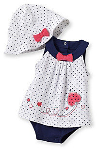Little Me Baby Girls' White/Navy Cute Lady Popover Set