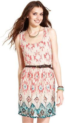 As U Wish Juniors Dress, Sleeveless Printed Belted Lace