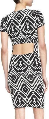 T-Bags T Bags Short-Sleeve Diamond-Print Cutout Dress, Black/White