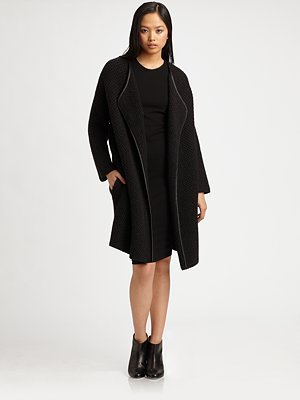 Vince Wool and Yak Leather-Trim Coat