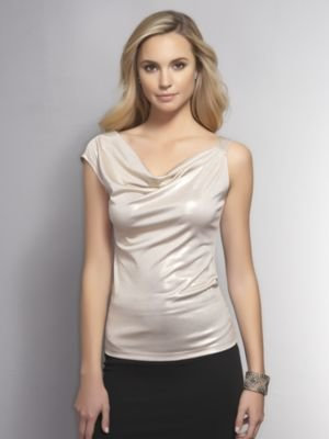 New York & Co. Gold Lame One-Shoulder Top