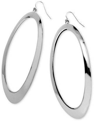 GUESS Earrings, Silver-Tone Open Circle Drop Earrings
