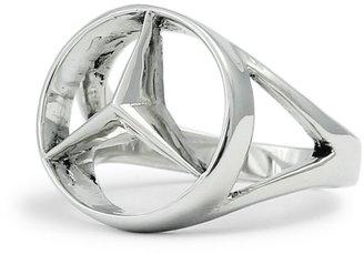 Mercedes Benz Silver Benz Ring - CONCAVE HEXAGON - Size 12.25