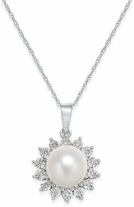 Macy's Cultured Freshwater Pearl (8mm) and Diamond Accent Pendant Necklace in 10k White Gold