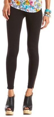 Charlotte Russe Ankle-Zip Cotton Spandex Legging