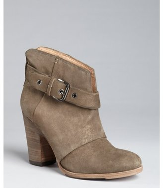 Belle by Sigerson Morrison whiskey leather buckle side stacked heel ankle boots