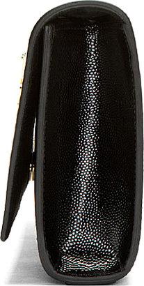 Saint Laurent Black Pebbled Leather Cassandre Clutch