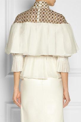 Alexander McQueen Embellished pleated silk-organza blouse