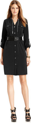 MICHAEL Michael Kors Dress, Long-Sleeve Belted Shirtdress