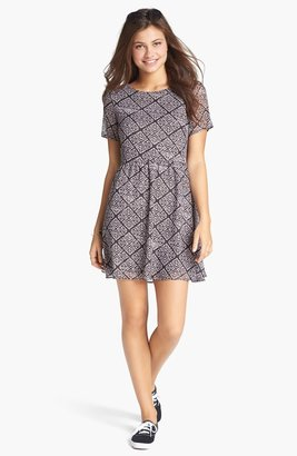 Lush V-Back Print Skater Dress (Juniors)