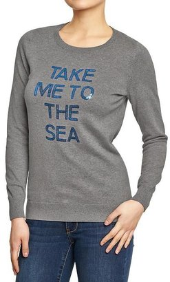 Old Navy Women's Sequined Graphic Sweaters