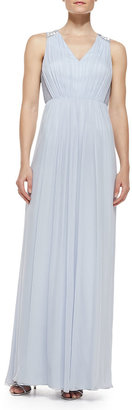 Phoebe by Kay Unger Sleeveless Beaded Shoulder & Back Gown, Sky Blue