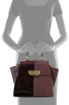 Zac Posen Eartha Contrast Textured Flap-Top Satchel Bag, Vineyard